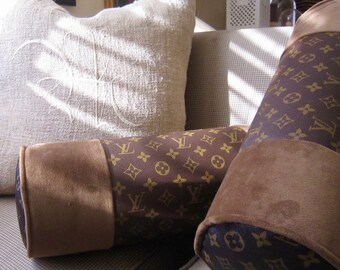 "LOUIS VUITTON Style Lumbar Round Bolster Pillow 16 x 6"" Velvet Only Available Here"