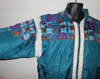 Vintage 90s Teal Plaid Aztec Windbreaker Jacket Large