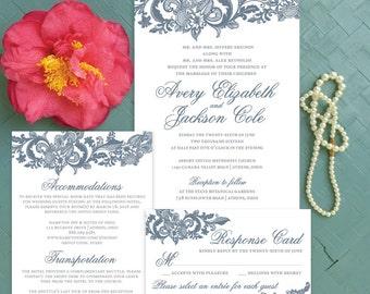 Lace Wedding Invitations, Dusty Blue Wedding Invitation Set, Blue Lace Invitation, Romantic Wedding Invitation Suite, Elegant Wedding Suite