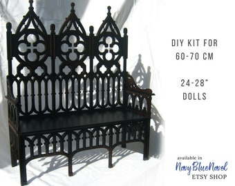 """Gothic SOFA for 60-70 cm (24-28"""") doll PRE-ORDER diy doll furniture kit dollhouse furniture laser cut unpainted bjd bench sd couch chair"""