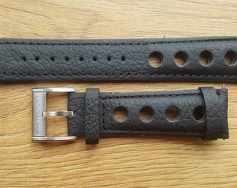 New 22mm Black Leather Watch Strap With Hamilton Stamped Buckle