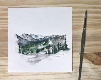 Mountains | Landscape | Watercolor | Original | Handpainted