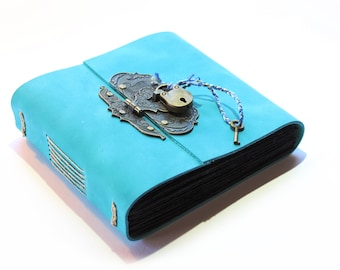 The Photographers Journal - Blue Handmade Leather Photo Album with metal hasp and padlock
