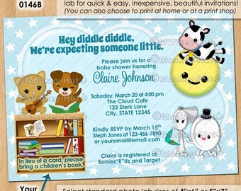 Nursery Rhyme Baby Shower Invitations / hey diddle diddle cow jumped over the moon cat dog dish / DIGITAL INVITATION / Design#: ISNU-0146B