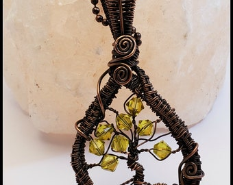 Tree of Life Pendant/ Yellow Swarovski Crystals/Copper Wire Wrap
