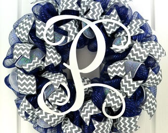 Navy monogram wreath - monogram door wreath - monogram wreath for front door - year round wreath - summer wreath - mom birthday gift