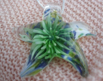 Sea Blue Green Anemone Starfish Necklace