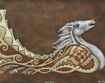 Pony Spirit - Cast Paper - south western art - native american inspired - white mustang