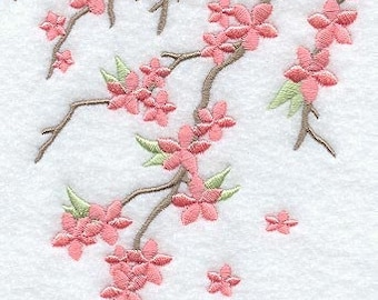 RESERVED for Sharon- 2x Cherry Blossom Breeze Embroidered Terry cloth Towel