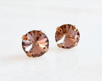 Blush and rose gold stud earrings - rose gold stud earrings - Swarovski crystal - rose gold earrings - rose gold jewelry - blush pink