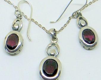 Sale Vintage Garnet Necklace,Garnet Earrings,Sterling Silver,Sterling Chain, Dangle Earrings,January Birthstone,Beautiful Deep Red