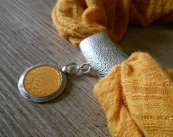 Jewelry bail attached to antique silver scarf and yellow Pocket Watch cabochon mothers day