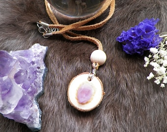 Amethyst Wood - Crystal Wood Necklace with Suede