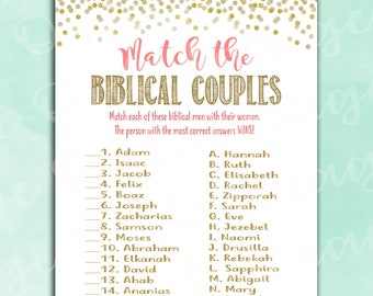 Bridal Shower Game - Match the Biblical Couples - Coral and Gold - Instant Printable Digital Download - Religious Fun Activity Unique