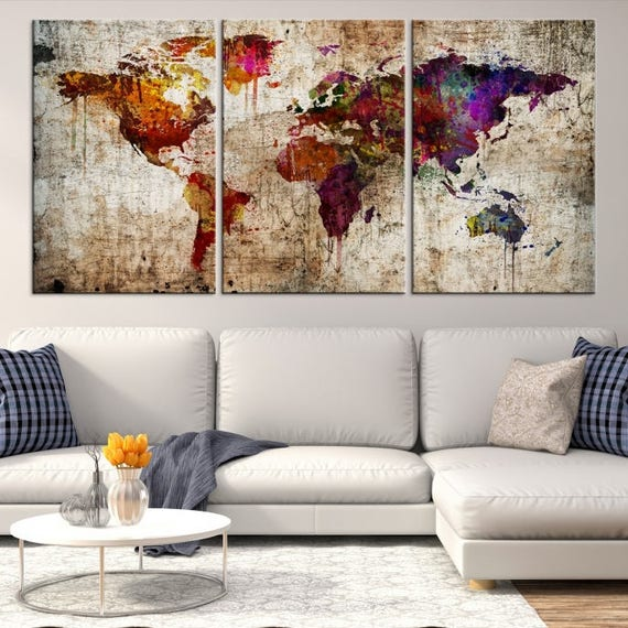 Large wall art world map canvas print extra large world map like this item gumiabroncs Images