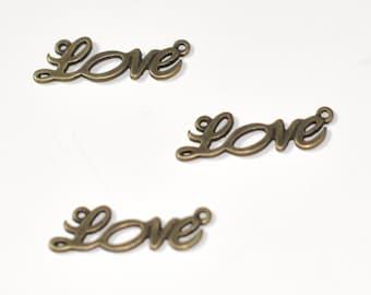 Love bronze pendant, creative fittings, bronze pendant, creating jewelry, 1.9 cm, 3 cm