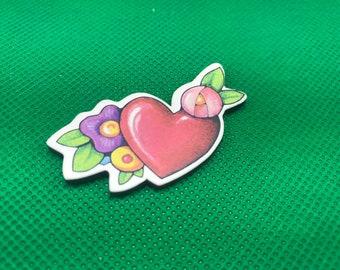 Vintage Mary Engelbreit Heart Floral Magnet ME Enesco 1998