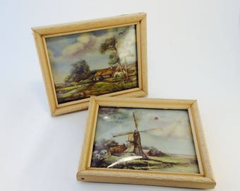 Convex Bubble Glass pictures with wooden frames, 1940's
