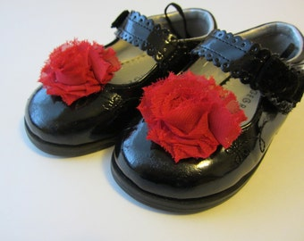 Red Chiffon Rosette Shoe Clips. Wedding Photo Prop Baby Toddlers Girls Women Dress Shoes