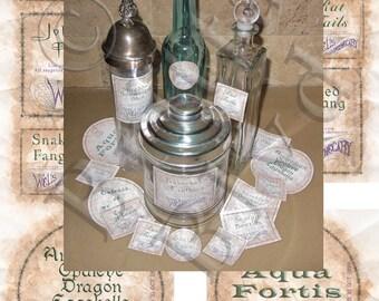 Set 1 Precut Wizard Potions Apothecary Alchemy Bottle Labels