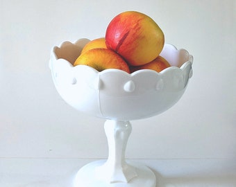Milk Glass Pedestal Bowl // Teardrop // Wedding //  Centerpiece