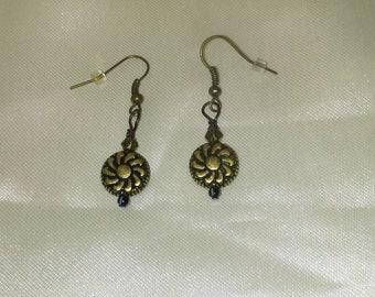 Steampunk Flower Earrings, Steampunk Earrings, Steampunk Jewelry, Flower Earrings, Bronze Flower Earrings, Affordable Earrings