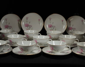 Beautiful Royal Court Carnation Porcelain Cup and Saucer Sets with Dessert Plates