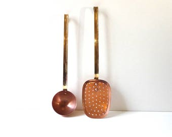 Vintage Copper Kitchen Utensils Ladle and Skimmer Copper Cookware French Country Decor Kitchen Decor