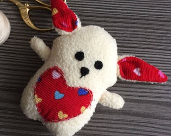 Little Upcycled Bunny Creme Red Heart Handsew Rabbit Plush