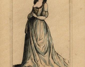 Original Antique Hand colored Engraving  Woman Costume Thomassine Spinola  - Gorgeous