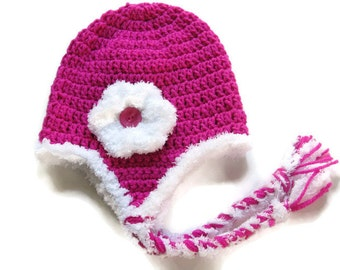 Pink Earflap Hat - Magenta Crochet Earflap Hat - Button and Flower - Baby Girl Winter Hat   - Size 6 to 12 Months