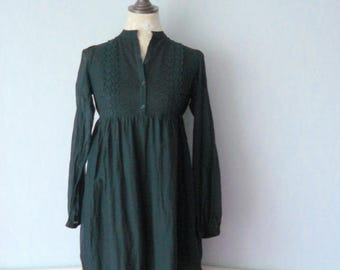 Promotion - Long sleeve Bohemian romantic black dress, cotton and lace, women size 38, dress down wide lace, embroidered dress