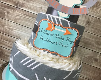 Oh Deer Diaper Cake, Oh Deer A Little Boy is Here, Hunting Theme Baby Shower
