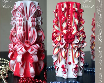 Large candle - Carved candle - Unique candles - Red candle - Christmas gift
