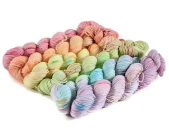Sock Yarn Mini Set, Gradient, Transition 92 yds 20g each, Fingering 552yd 120g total, Superwash Merino/Nylon, Gradient Sock - Double Rainbow