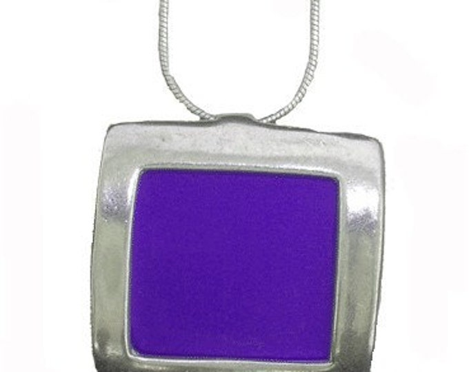 recycled aluminum/silver Purple square pendant