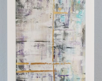 Abstract Bark Painting: White and Purple Acrylic with Gold Leaf on Paper Canvas
