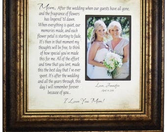 Mother of the Bride Gift, Parents Thank You Mom Dad Wedding Frame, wedding guestbook, monogram wedding cake topper, love topper, 16 X 16