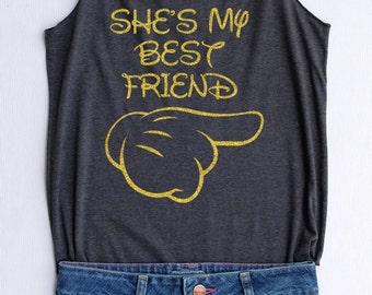 Glitter She is my best friend Disney tank tops/Disney t-shirt/Disney shirts for women/Disney family shirts/Disney shirts for kid/Kid t-shirt