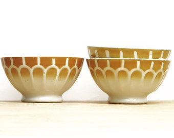 1 very large french  vintage cafe au lait bowl, white and mustard ombre, geometrical pattern