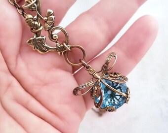 Aqua blue dragonfly necklace, Art Nouveau asymmetrical necklace, dragonfly jewelry, filigree jewelry lariat necklace bug pendant necklace