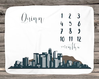 California blanket etsy los angeles city skyline personalized milestone blanket california personalized growth blanket baby negle Image collections
