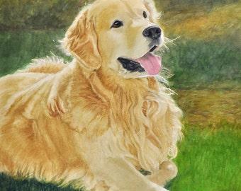 Golden Retriever Art, Golden Retriever Print, Retriever Art, Dog Art Print, Dog Watercolor Print, Retriever Watercolor Art by P. Tarlow