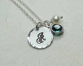 Bridesmaid Jewelry Set of 5 Initial Necklace Bridesmaid Necklace Bridesmaid Gift Monogram Necklace Personalized Birthstone Necklace
