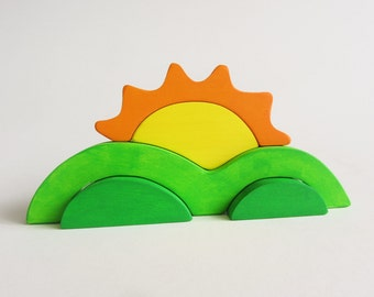 Sunrise Stacker Waldorf Wooden Toy- sun hills