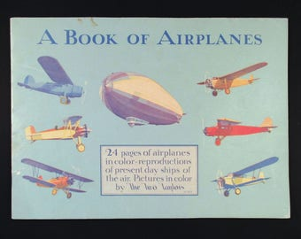 Whitman A Book Of Airplanes 1930 Art Deco Illustrated Childrens Book, Aviation History, Airplanes, Zeppelins