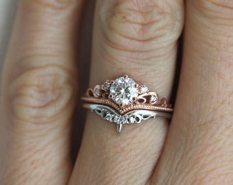 Moissanite Enagement Ring Set, Rose Gold ring Set, Diamond Ring Set, Vintage Ring Set, Rose Gold Set, Yellow Gold Set, White Gold Ring Set