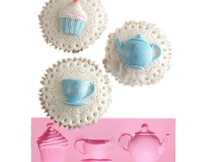 Tea Party Silicone Mold - M0847 - Baking Fondant Happy Birthday Party Teapot Teacup cup Cupcake Alice in Wonderland Mad Hatter Drink Me