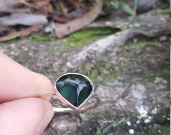 Blue Tourmaline Ring - Handmade & Silver