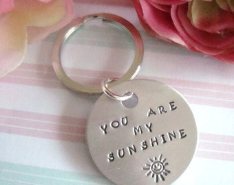 You Are My Sunshine Hand Stamped Keychain Design 2 Smiling Sun